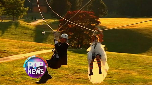 VIDEO: Lauren and Ben made an unforgettable entrance to their ceremony -- on zip lines.