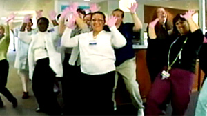 PHOTO Hospital workers at Providence St. Vincent Medical Center appeared in a video on YouTube wearing pink gloves and dancing to the song ?Down? by Jay Sean.  The video has been viewed more than 1.6 million times so far.