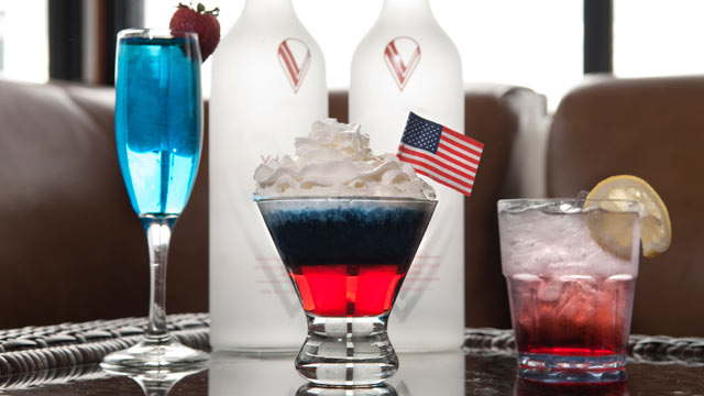 PHOTO: This red white and blue shooter is a drink specially made for the Fourth of July celebrations at Hudson Terrace in New York City.