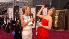 VIDEO: Jennifer Lawrence talks to Lara Spencer about stumbling on the red carpet in her Dior dress.