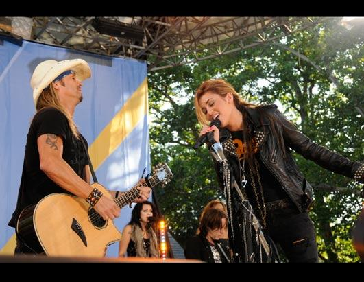 Miley Cyrus Rocks Out With Bret Michaels