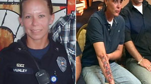 Sarah Clark shows off her tribute tattoo to Sgt. Kimberly Munley