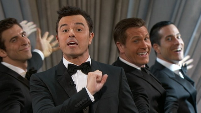 VIDEO: Seth MacFarlane sings 'We Saw Your Boobs' to actresses at the Academy Awards.