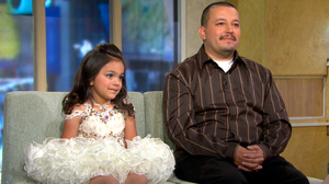 "PHOTO Alex Salazar, 33, and his 6-year-old daughter Emily visit ""Good Morning America"" to talk about what its like to be an increasingly more common ""Pageant Dad"" on the pageant circuit."