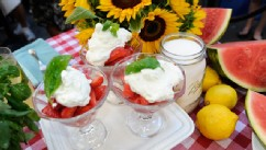 PHOTO: Carla Hall whips up a fresh strawberry parfait for Good Morning America.