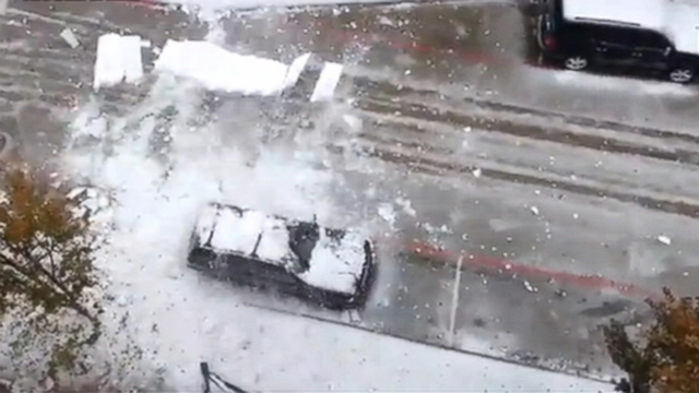 VIDEO: Sheets of ice fall in Plano, Texas.