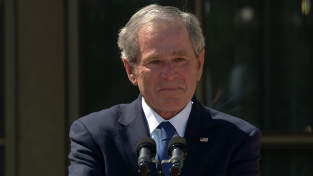 Video: Bush Chokes Up During Presidential Center Dedication Speech