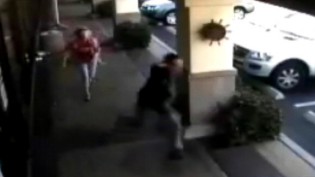 VIDEO: The 64-year-old victim didnt stand down as she grabbed the suspect by the hood of his sweatshirt.