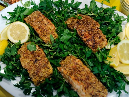 Mustard and Coriander?Crusted Salmon with Watercress