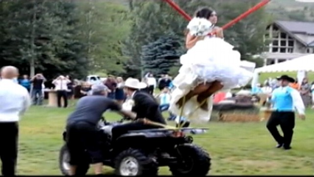 Couple Has Awesome Human Slingshot at Wedding