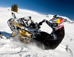 Professional Snowmobiler Heath Frisby leans into a turn on the Continental Divide Snowmobile Trail System. Located in the Bridger-Teton National Forest in northwest Wyoming, the trail system is accessible from Togwotee Mountain Lodge in Moran, Wyo.