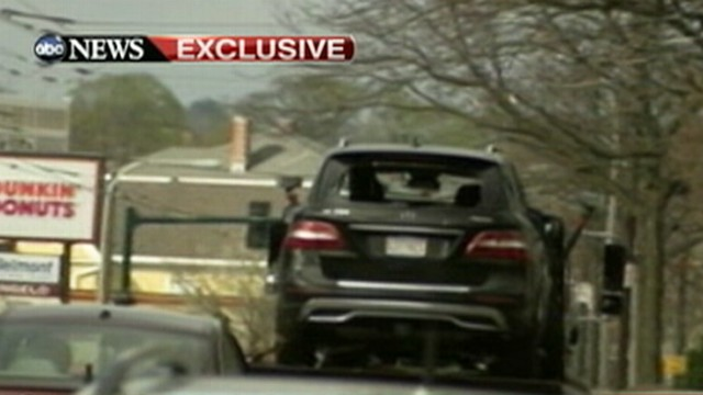 Video: Bombing Suspects' Bullet-Riddled SUV: Exclusive