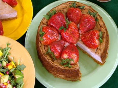 Diane Henderiks' strawberry-tofu cheesecake is shown.