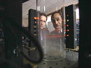 PHOTO Physicist Ronald Mallett shows ABC?s John Berman his time machine.