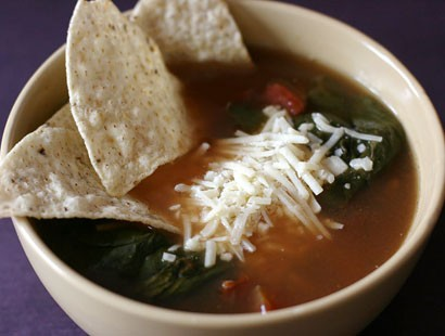 PHOTO:??Stephanie ODea prepares a vegetarian tortilla soup