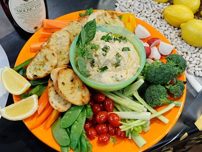 White bean puree on grilled sliced baguette feature on Good Morning America Feb. 4, 2011.