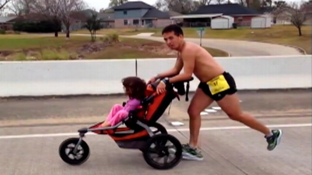 VIDEO: Iram Leon finished in first place at Gusher Marathon while pushing 6-year-old Kiana in a stroller.