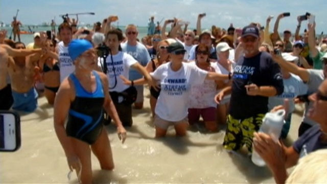 VIDEO: Diana Nyad is facing criticism that she was aided by a boat during her 110-mile swim.