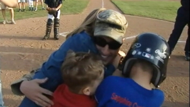 VIDEO: Captain Ed Maxa surprised his children with his return from Afghanistan during his sons Little League game.