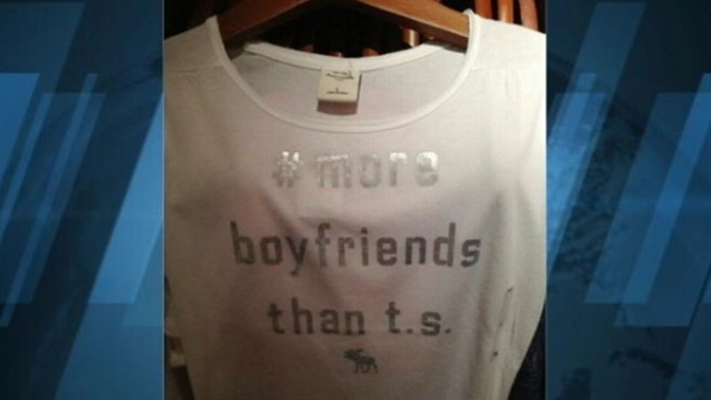"VIDEO: Clothing retailers T-shirt printed with ""# more boyfriends than t.s."" is no longer available."
