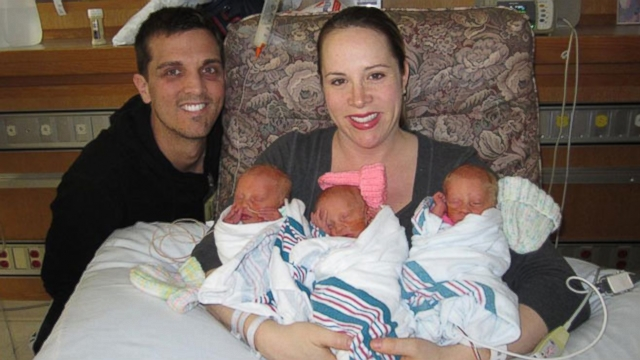 Triplet girls Ava, Avery and Alissa were conceived without fertility drugs.
