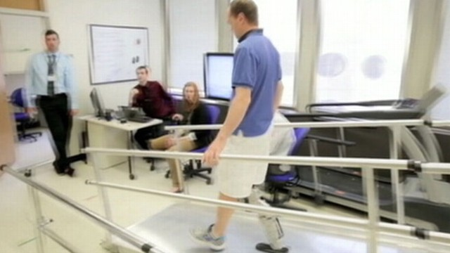 VIDEO: Robotic leg allows Zac Vawter, 31, to walk up and down a ramp and transition to stairs.