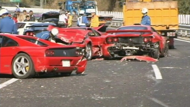 VIDEO: Twelve luxury cars are damaged during accident on a highway in Japan.