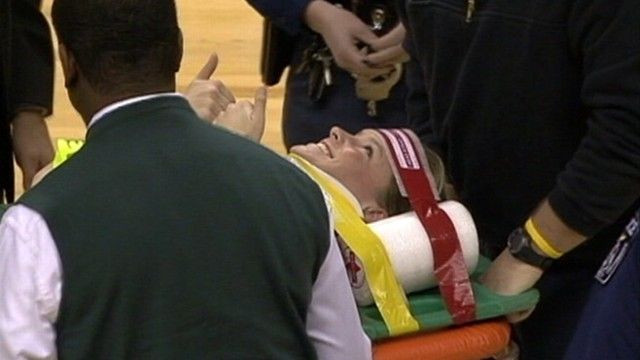 VIDEO: Michigan State Universitys Taylor Young was put in neck brace after the spill.