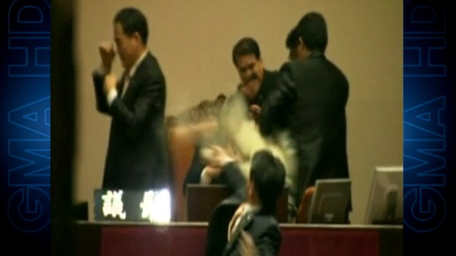 VIDEO: Debate over a trade deal with the U.S. sparked violence inside Parliament.