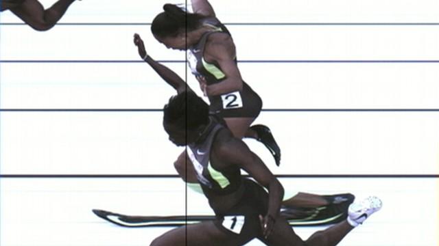 VIDEO: Allyson Felix and Jeneba Tarmoh finished in a dead heat for the 100-meter race.
