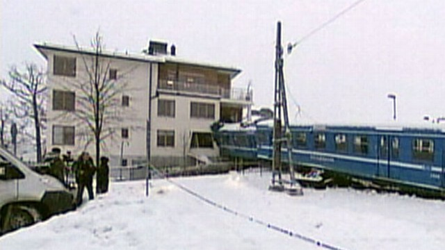 VIDEO: The stolen commuter train in Sweden jumped tracks before careening into an apartment building.