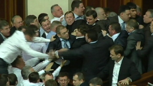VIDEO: Scuffle between supporters of the president and opposition lawmakers broke out in parliament.