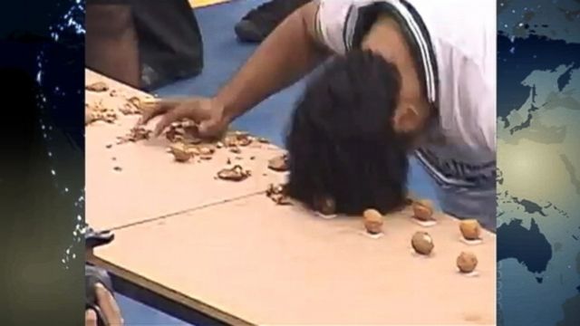 VIDEO: Mohammad Rashid busted 155 walnuts with his noggin during the Punjab Youth Festival in Pakistan.