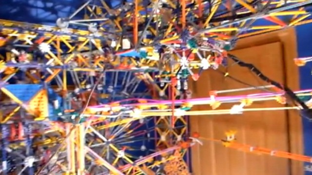 VIDEO: 21-Year-Old Austin Granger of St. Paul, Minn., built this elaborate Knex structure in his bedroom.
