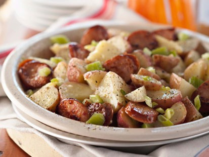 Get the Deen Brothers' sausage potato salad recipe below.