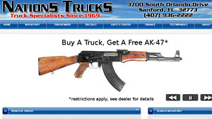 Photo: Fla. Dealership Offers Free AK-47 for Truck Buyers: Buy a truck, get a gun: Fla. dealership offers voucher for AK-47 as incentive to buy