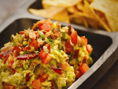 Rick Bayless' bacon and tomato guacamole.