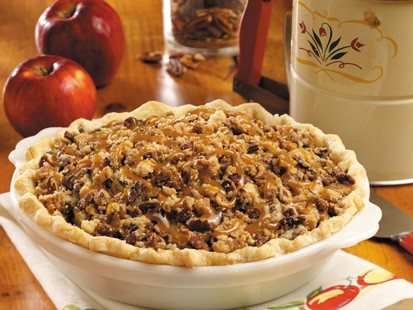 Caramel pecan apple pie is a popular dessert for bake sales.