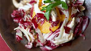 Photo: Rocco DiSpiritos Warm Chicken and Radicchio Salad with Orange, Tarragon and Goat Cheese