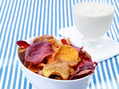 Sunny Anderson's vegetable chips with blue-cheese dip