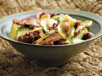 Grace Young's stir-fried cucumber and pork with golden garlic.