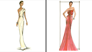 PHOTO Robin Roberts will be reporting from the Oscars red carpet for GMA. Above are two sketches for her gown by graduates of Parsons The New School for Design.