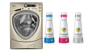 PHOTO GE Profile Front Load Steam Washer With Overnight Ready Cycle and Method Laundry Detergent