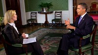President Barack Obama participates in an interview with ABC News' Elisabeth Leamy in the Green Room of the White House, Thursday July 22, 2010.