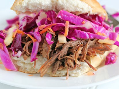 PHOTO:??Chef Erin Chase prepares dad-friendly shredded beef and red cabbage sandwiches.
