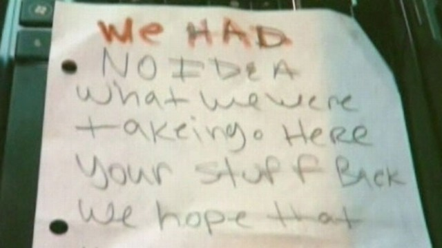 "VIDEO: Note left for Sexual Assault Services Center said, ""We had no idea what we were taking."""
