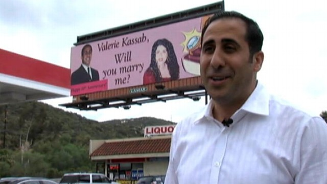 VIDEO: California man held on to 48-foot-wide billboard and used it again to honor 10 years of marriage.