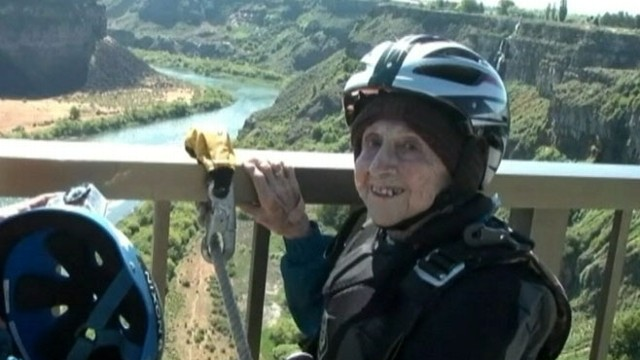 VIDEO: Dorothy Custer trumps her last birthday adventure of ziplining with a leap from an Idaho bridge.