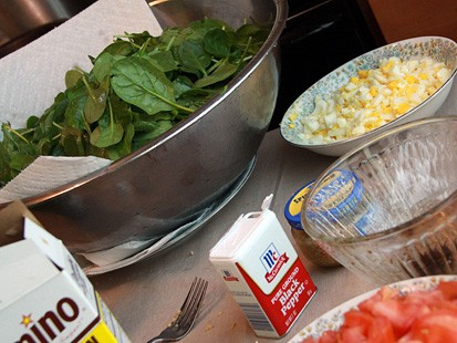 "Pic Image from GMA Test Kitchen:  ""Once a Year"" Spinach Salad with Bacon Drippings from the Feasty Boys"