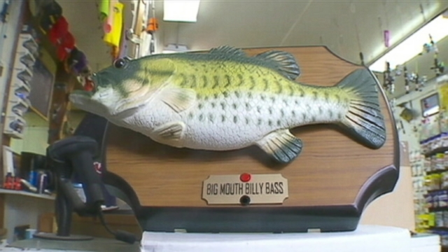 VIDEO: Fishing store owner Tom Allen credits the motion-detecting fish mount with protecting his store.